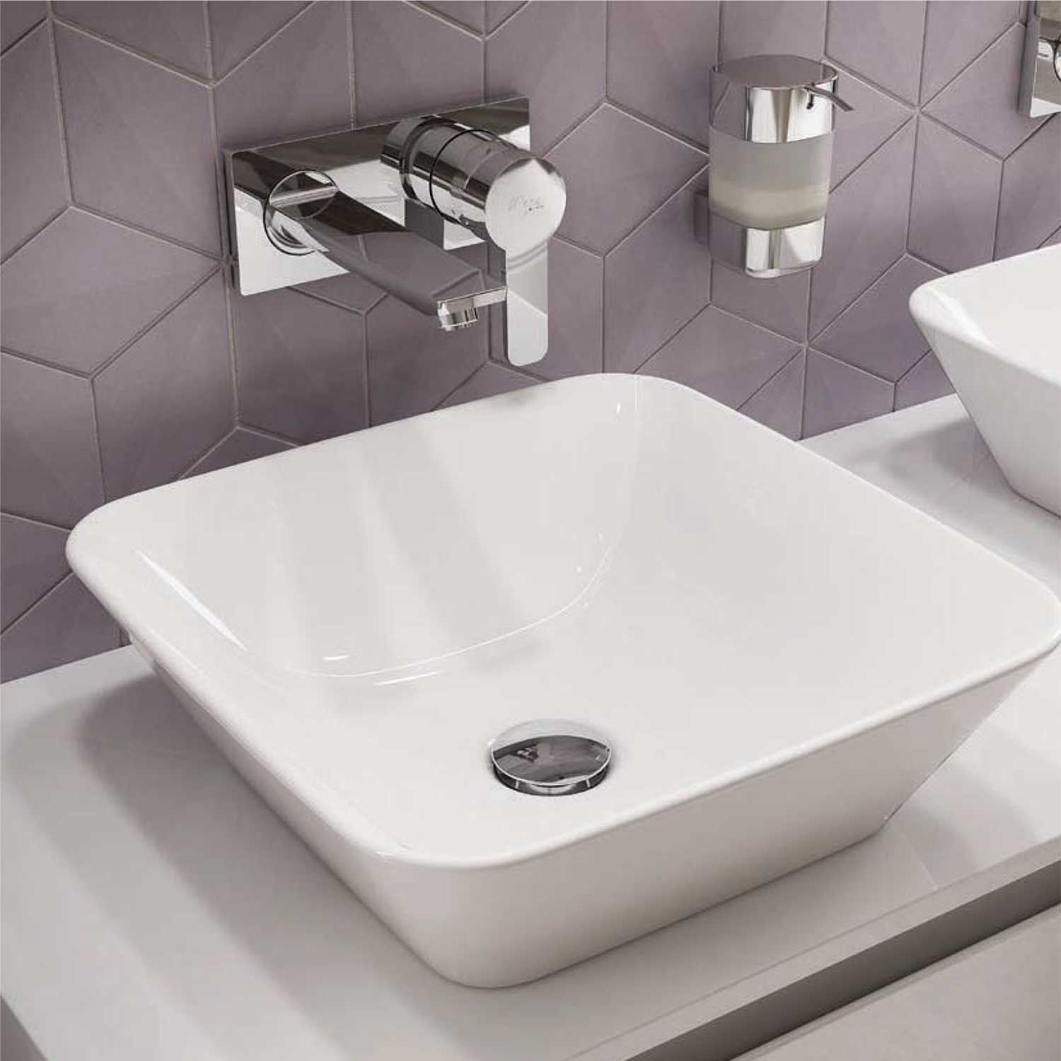 Lavabo da appoggio 40X40 con bordo ultra sottile Ideal Standard Connect Air