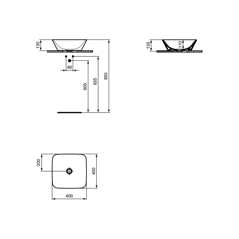 Lavabo da appoggio 40X40 con bordo ultra sottile Ideal Standard Connect Air
