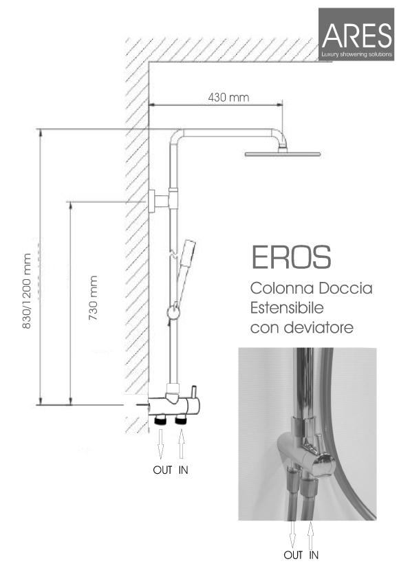 Colonna Doccia a Ponte ARES modello Eros con soffione quadrato in metallo 25x25 cm Design Minimale