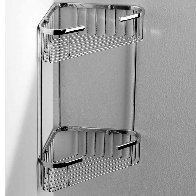 Griglia doccia ad angolo con doppio ripiano 19x19 in ottone cromato lucido ARES