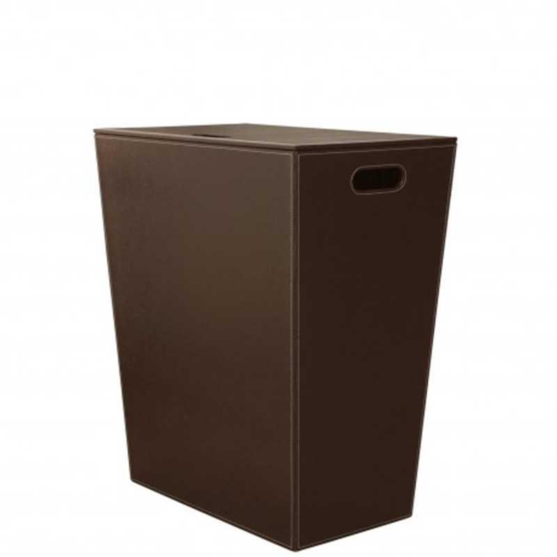 Cesto Porta Biancheria in eco pelle koh-i-noor colore marrone scuro