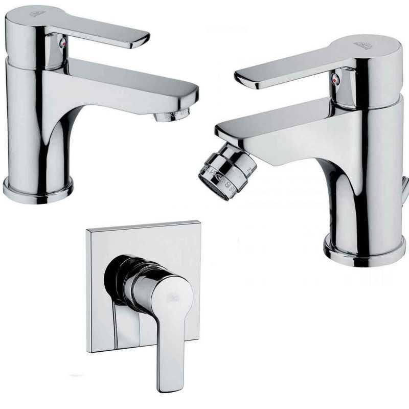 Paffoni Red miscelatore lavabo c/scarico, bidet c/scarico e doccia ottone cromo