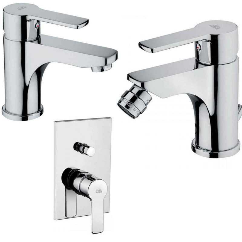 Paffoni Red miscelatore lavabo c/scarico, bidet c/scarico e doccia deviatore