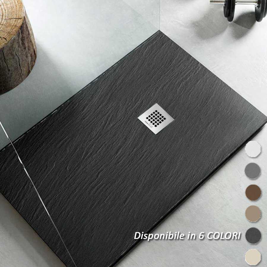 Piatto Doccia filo pavimento 80x90 H 2,5 cm Easy effetto ardesia