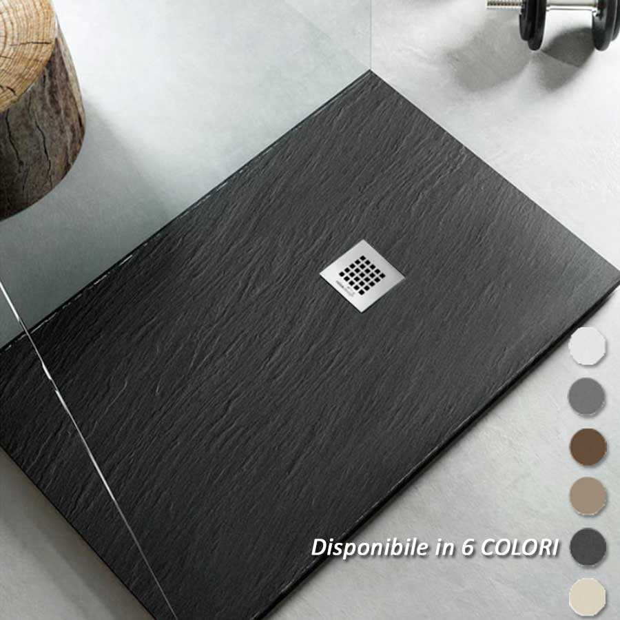 Piatto Doccia filo pavimento 80x120 H 2,5 cm Easy effetto ardesia