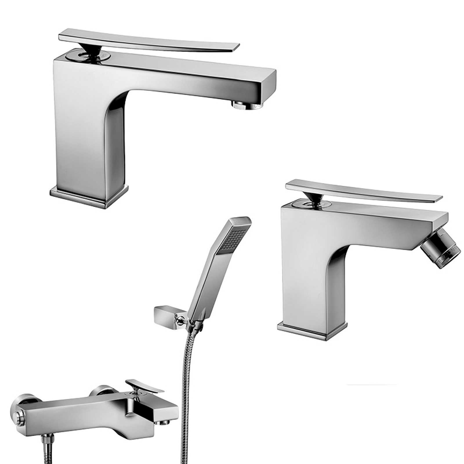 Set di miscelatori lavabo, bidet e doccia con deviatore paffoni Elys ELY075CR + ELY135CR + ELY023CR