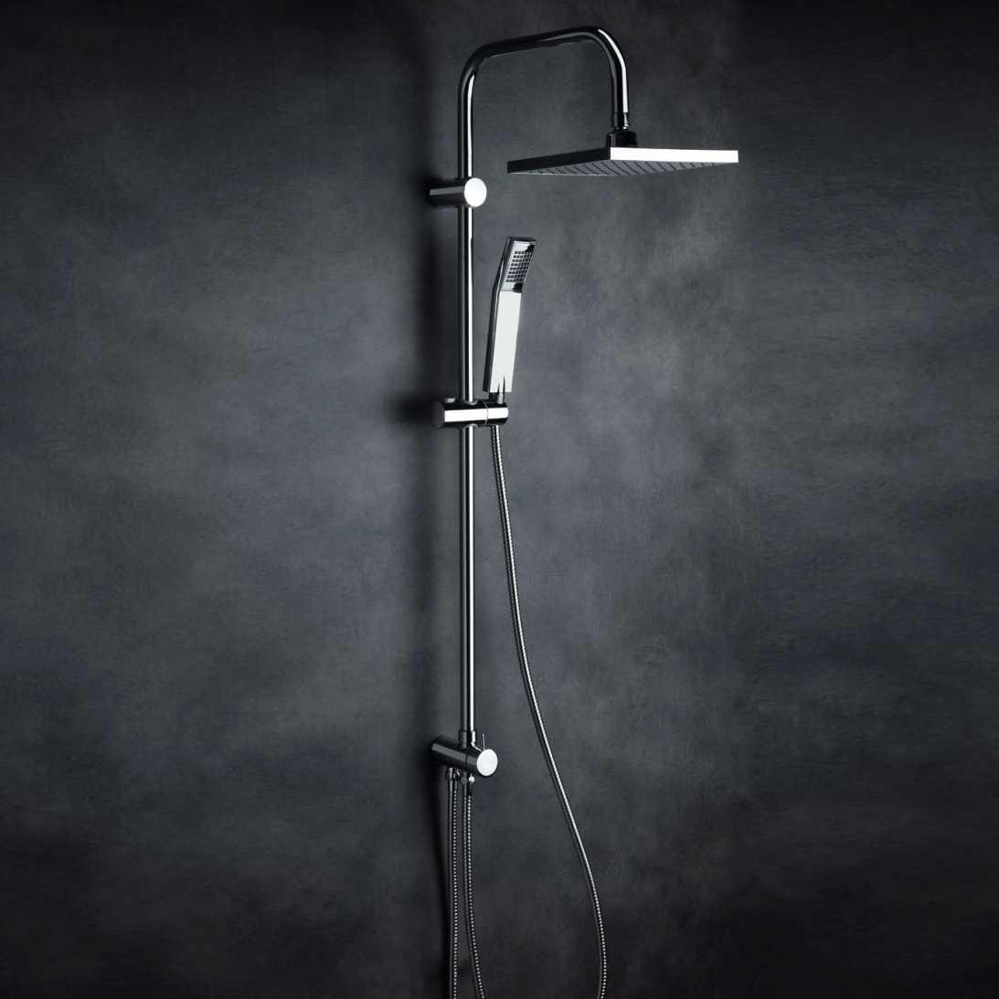 Colonna doccia quadrata in ottone cromato con soffione 20x20 e deviatore incorporato mod. Malta