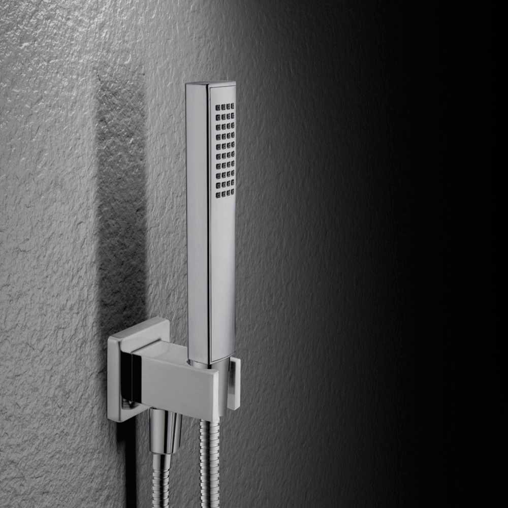 Kit doccia quadrato con doccetta minimale in ABS, flessibile e presa acqua