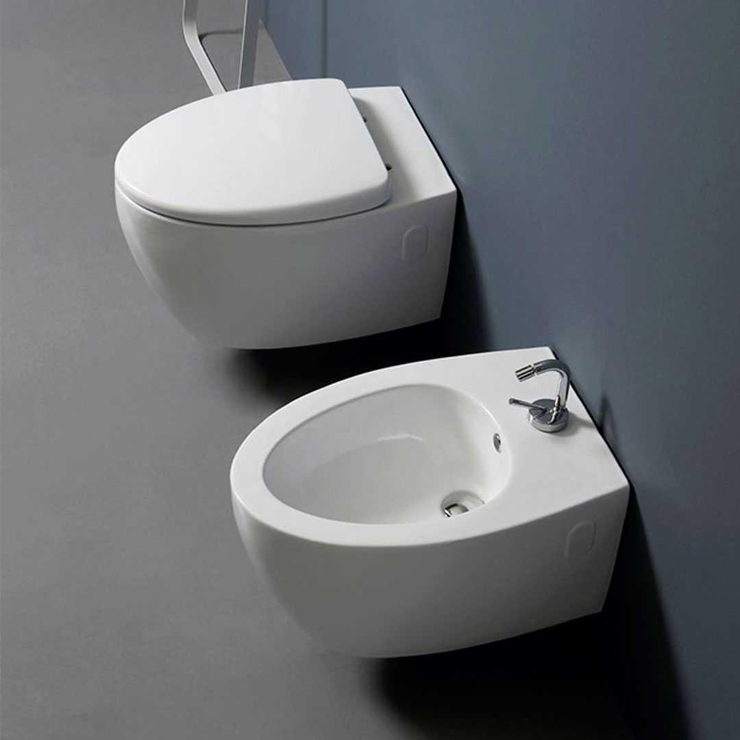 Sanitari sospesi design moderno vaso + bidet + sedile soft close Nemesi