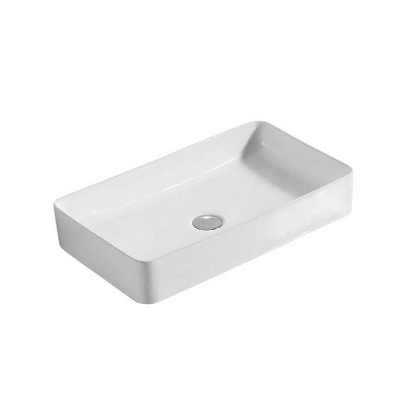 Lavabo da appoggio rettangolare in ceramica bianca 61x35 con bordo sottile
