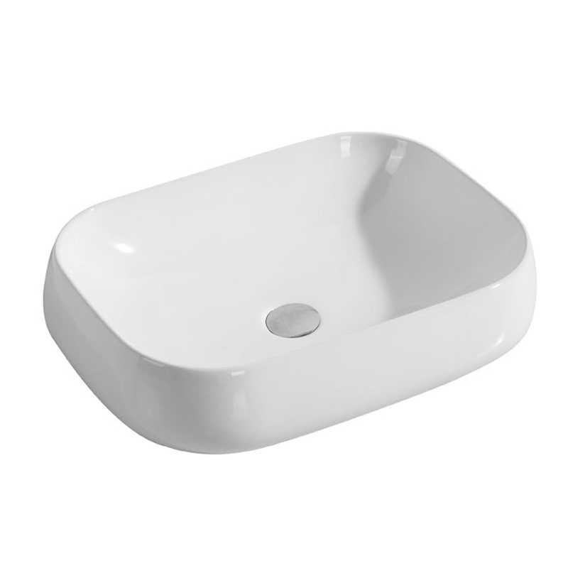 Lavabo da appoggio in ceramica bianca 50x40 con vasca profonda
