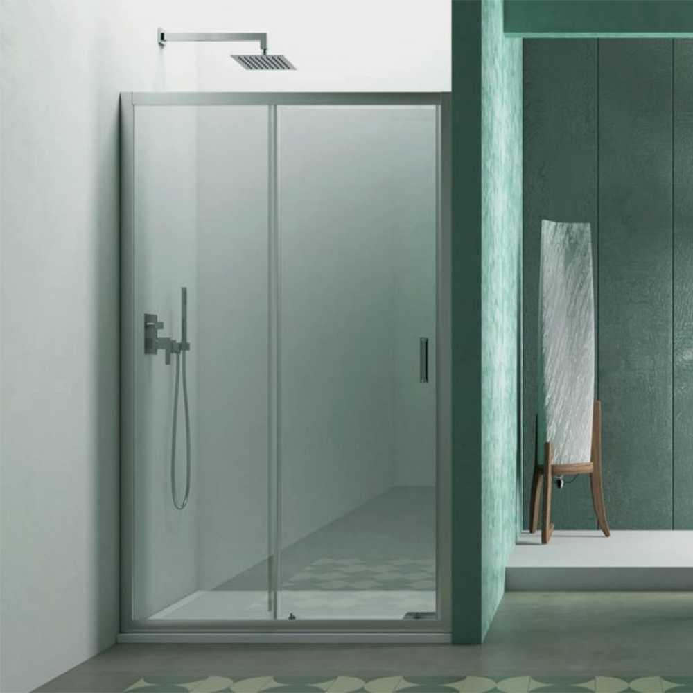 Porta doccia Smart per nicchia 100 cm apertura scorrevole in cristallo trasparente da 6 mm