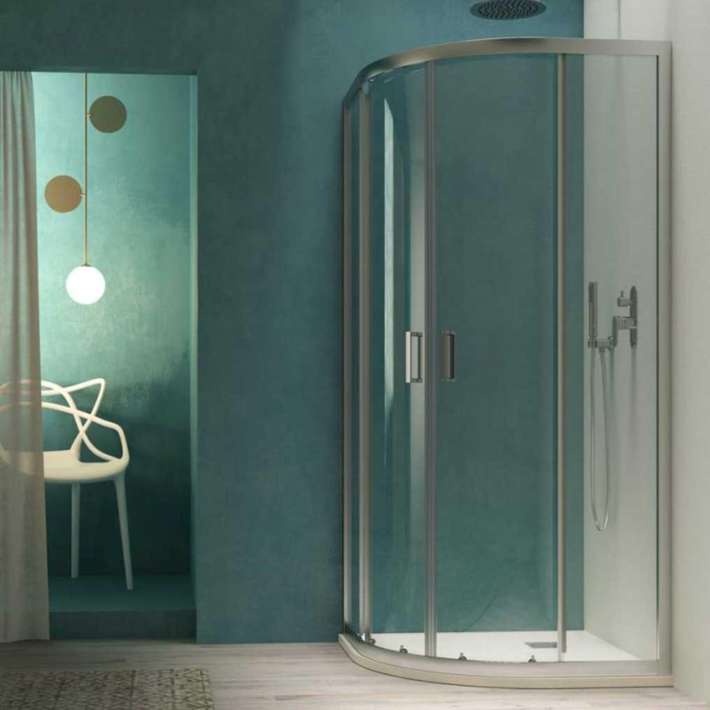 Box doccia semicircolare cm 80x80 Smart apertura scorrevole in cristallo temperato trasparente da 6 mm