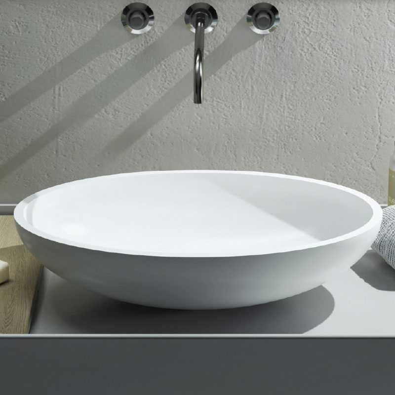 Lavabo da Appoggio in Solid Surface modello Ovo Relax Design Bianco OPACO