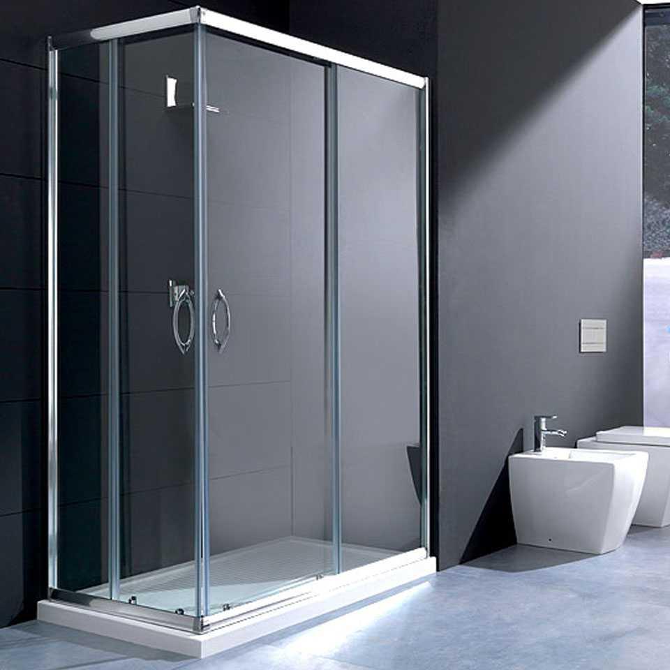Box doccia rettangolare 70x100 in cristallo da 6 mm trasparente apertura angolare