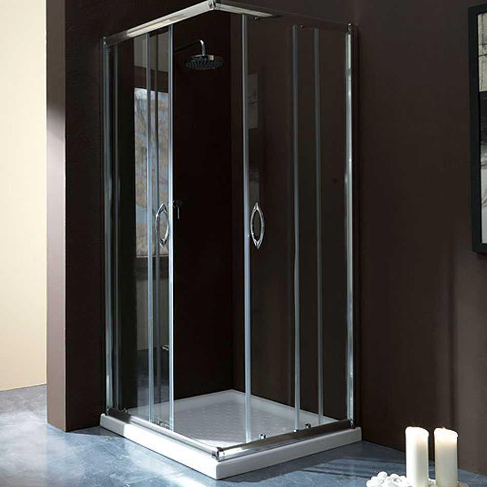 Box doccia quadrato 80x80 in cristallo da 6 mm trasparente apertura angolare