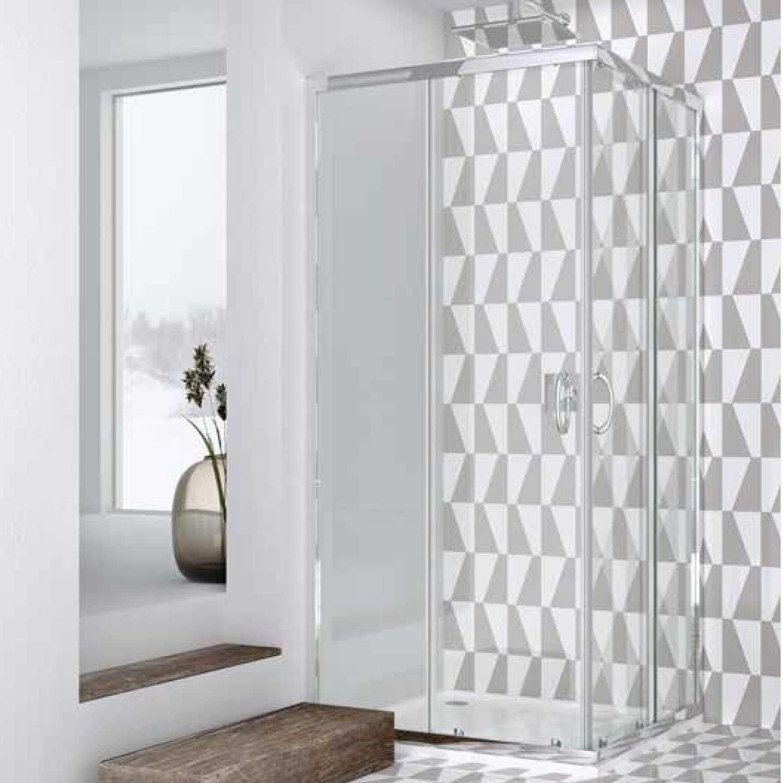 Box doccia quadrato 90x90 in cristallo da 6 mm trasparente apertura angolare