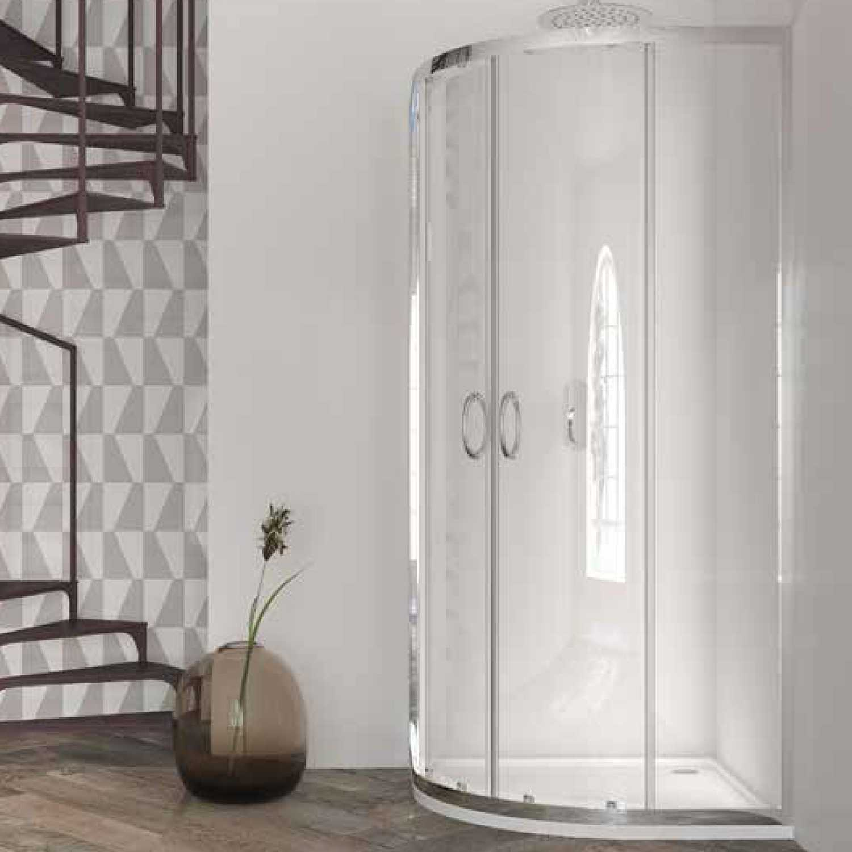Box doccia semicircolare 80x80 in cristallo da 6 mm trasparente scorrevole