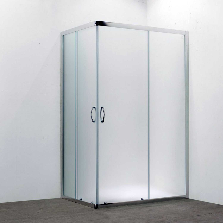 Box doccia rettangolare 80x120 in cristallo da 6 mm opaco apertura angolare