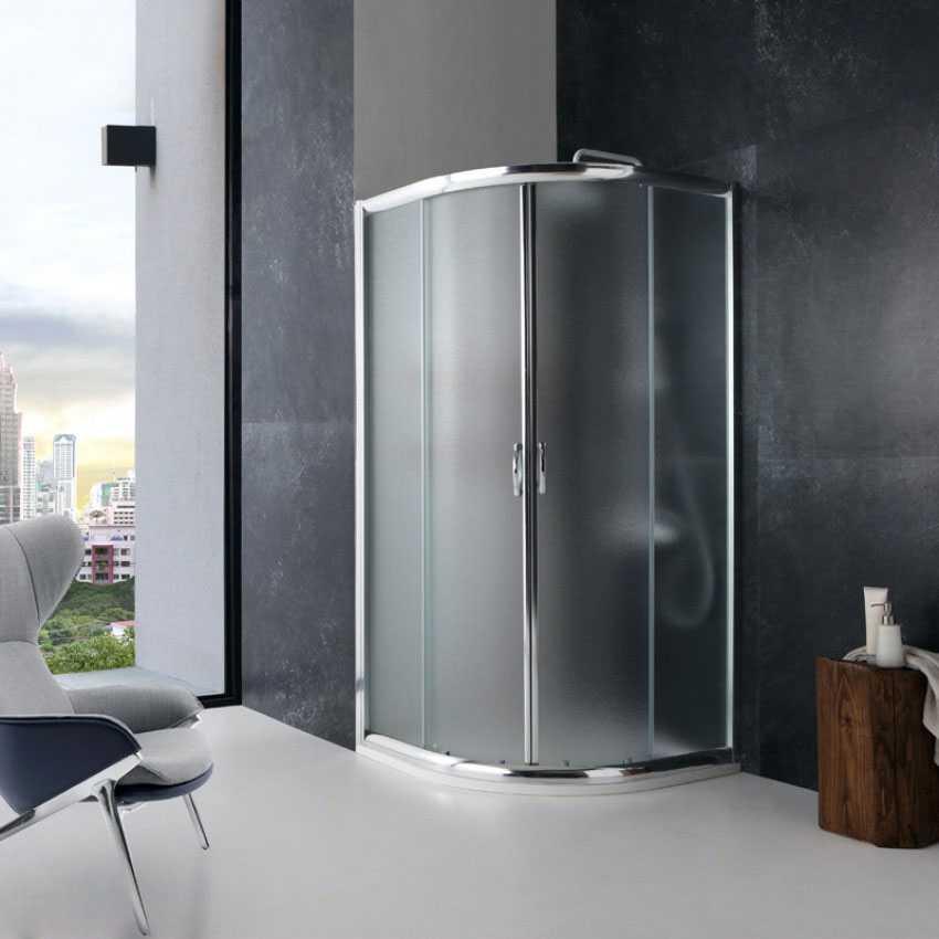 Box doccia semicircolare 80x80 in cristallo da 6 mm opaco scorrevole