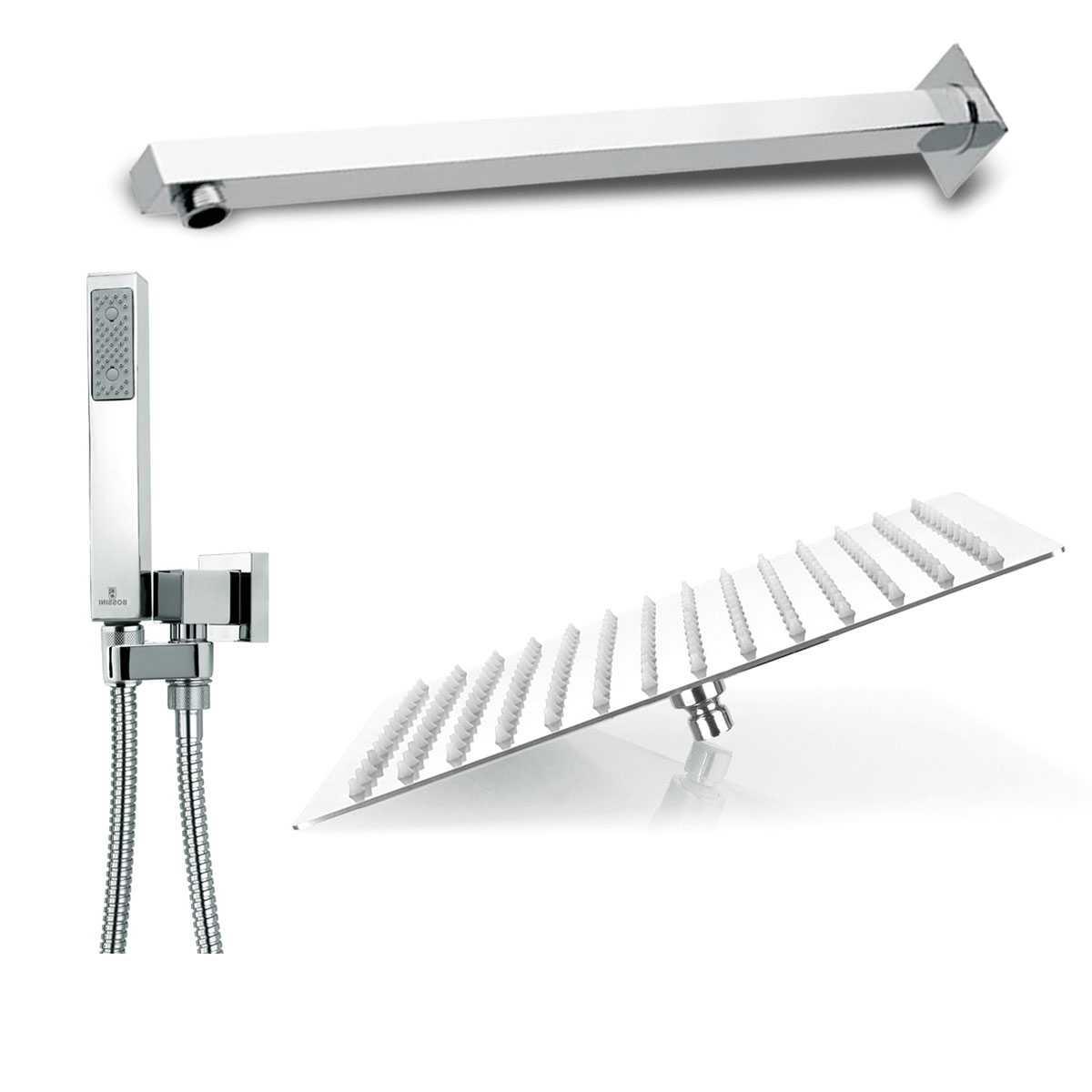 Composizione doccia squadrata Bossini Cube con soffione 30X30, braccio e set duplex