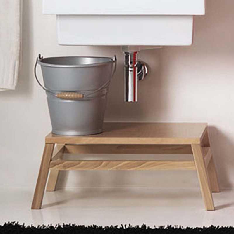 Panca- Piedistallo in legno xilon per lavatoio e lavarredo da bagno