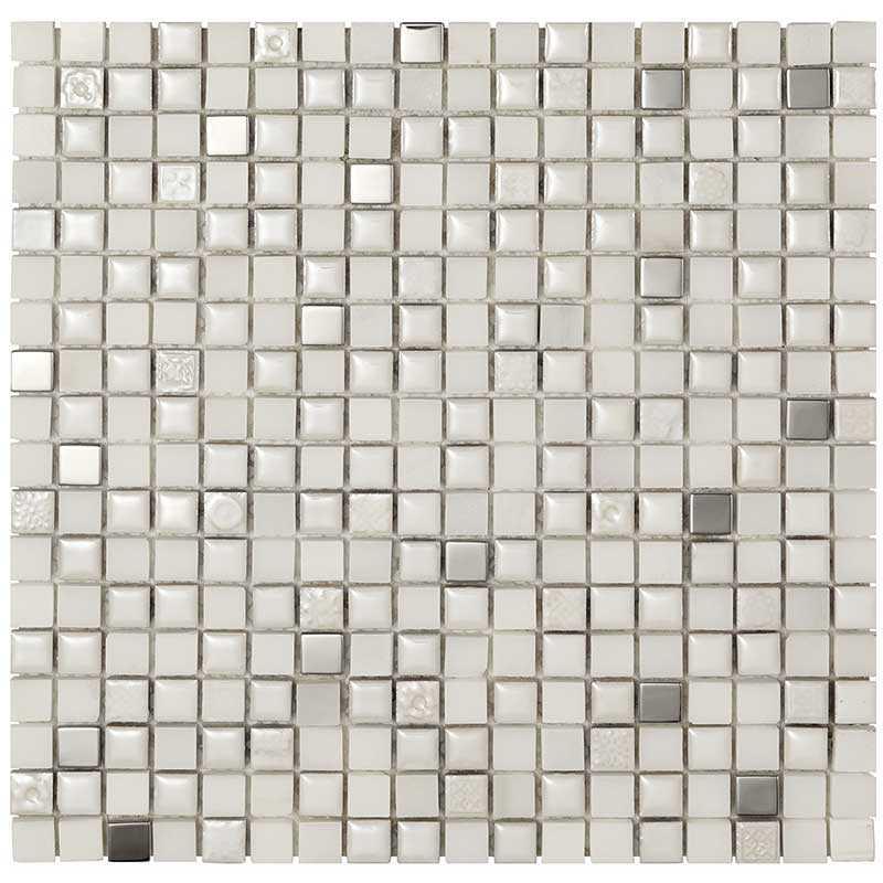 Mosaico da Bagno in fogli 30x30 Boxer Mexical Bianco Metal