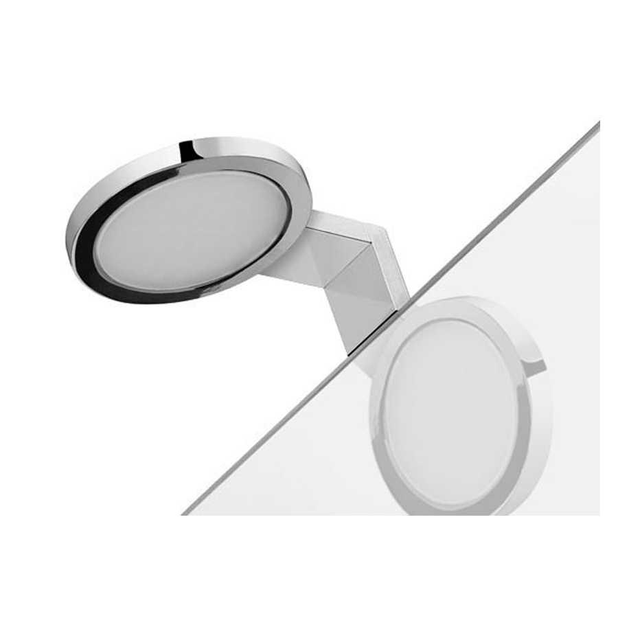 Lampada a led tonda cromata MAIORCA con telaio di fissaggio per specchi senza cornire