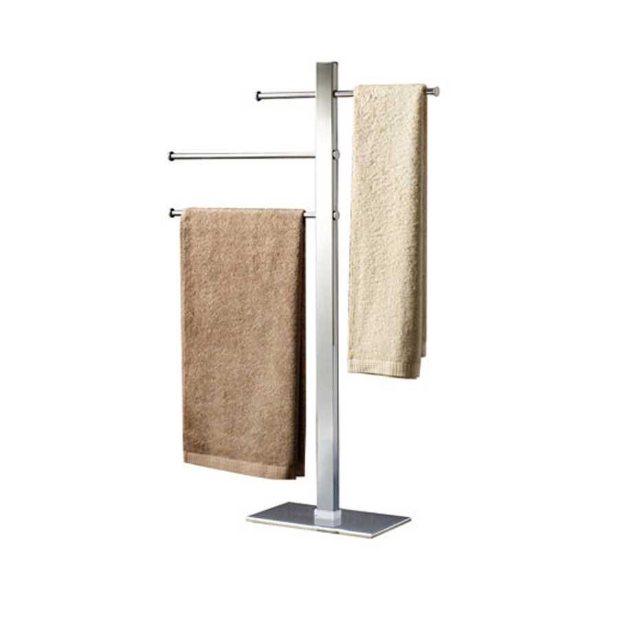 Piantana portasciugamani con 3 portasalviette scorrevoli realizzata in acciaio inox cromato