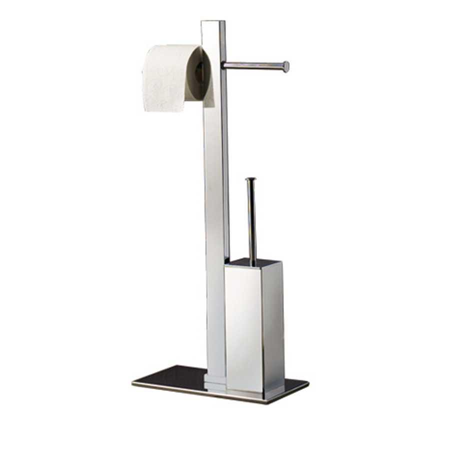 Piantana portarotolo doppio e scopino wc realizzata in acciaio inox cromato