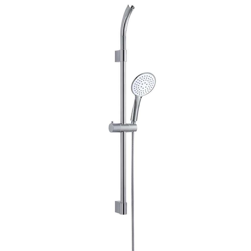Set doccia a 3 getti completto di asta saliscendi doccino e flessibile modello TECH_01 cromo lucido e bianco