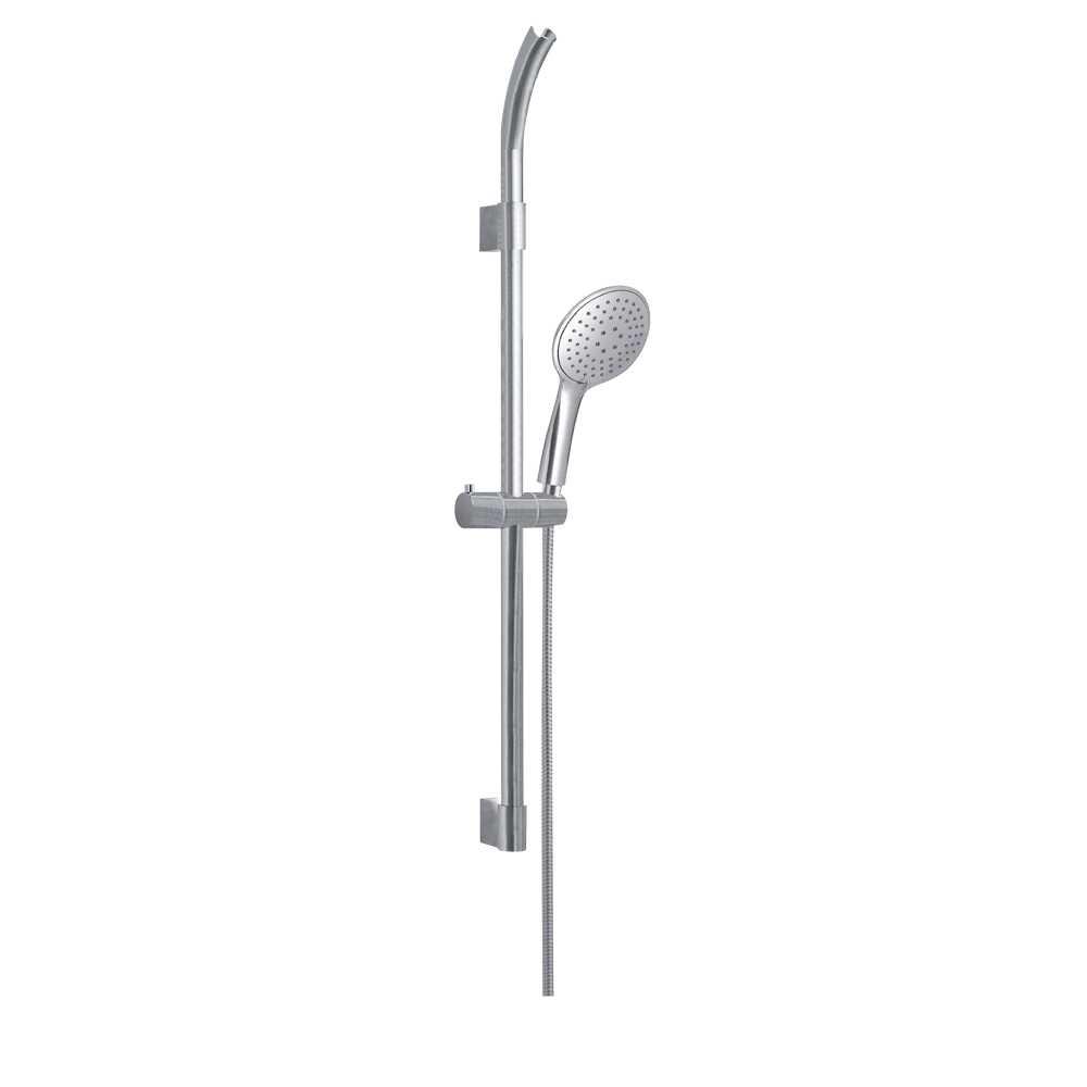 Set doccia a 3 getti completto di asta saliscendi doccino e flessibile modello TECH_03 nichel spazzolato