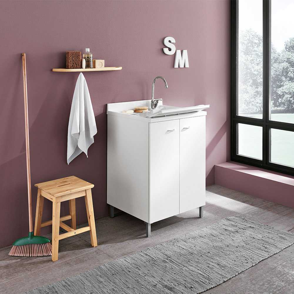 Lavatoio lavapanni 60X50 bianco con asse lavapanni per lavanderia