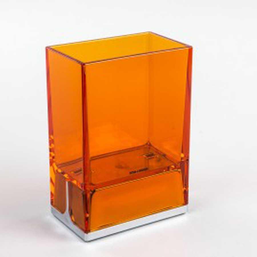 Bicchiere portaspazzolini da appoggio in policarbonato Koh-i-Noor LEM colore arancione