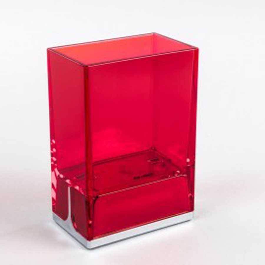 Bicchiere portaspazzolini da appoggio in policarbonato Koh-i-Noor LEM colore rosso
