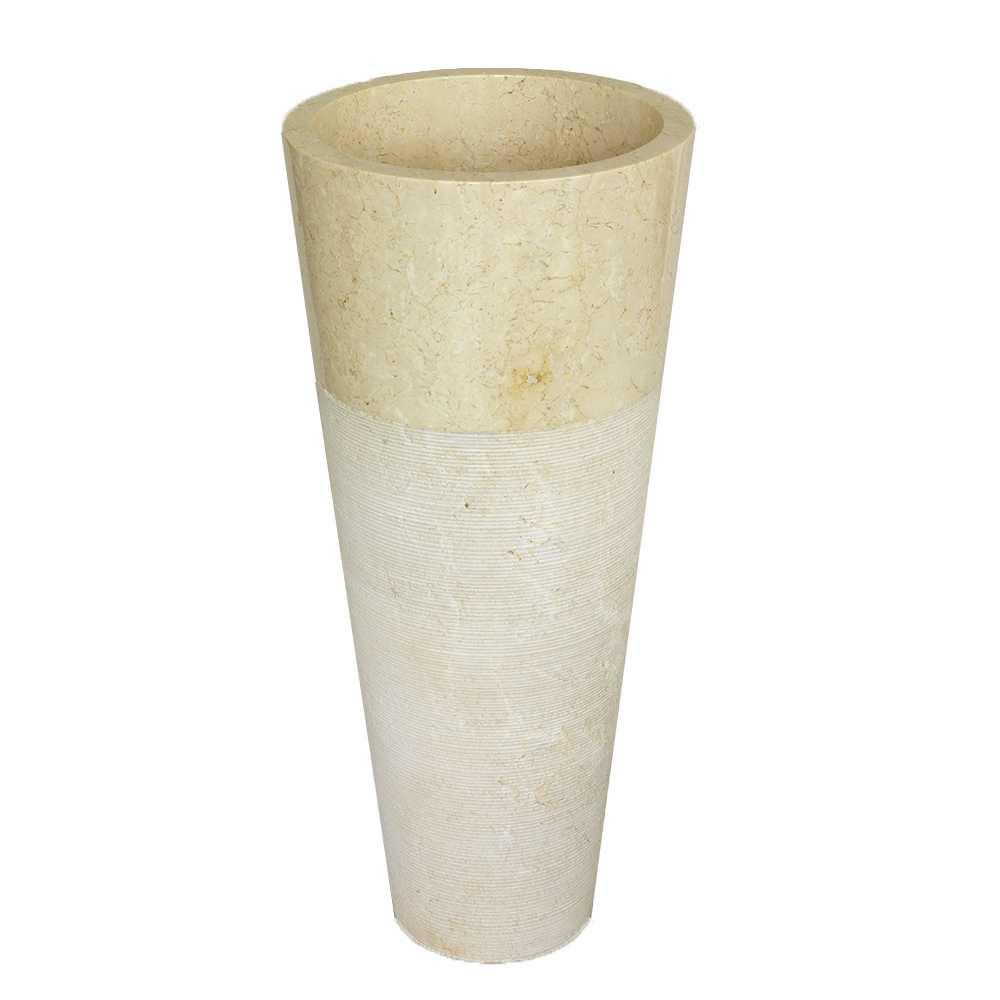 Lavabo freestanding in Marmo Conico Beige tondo alto 90 cm diametro 40 cm