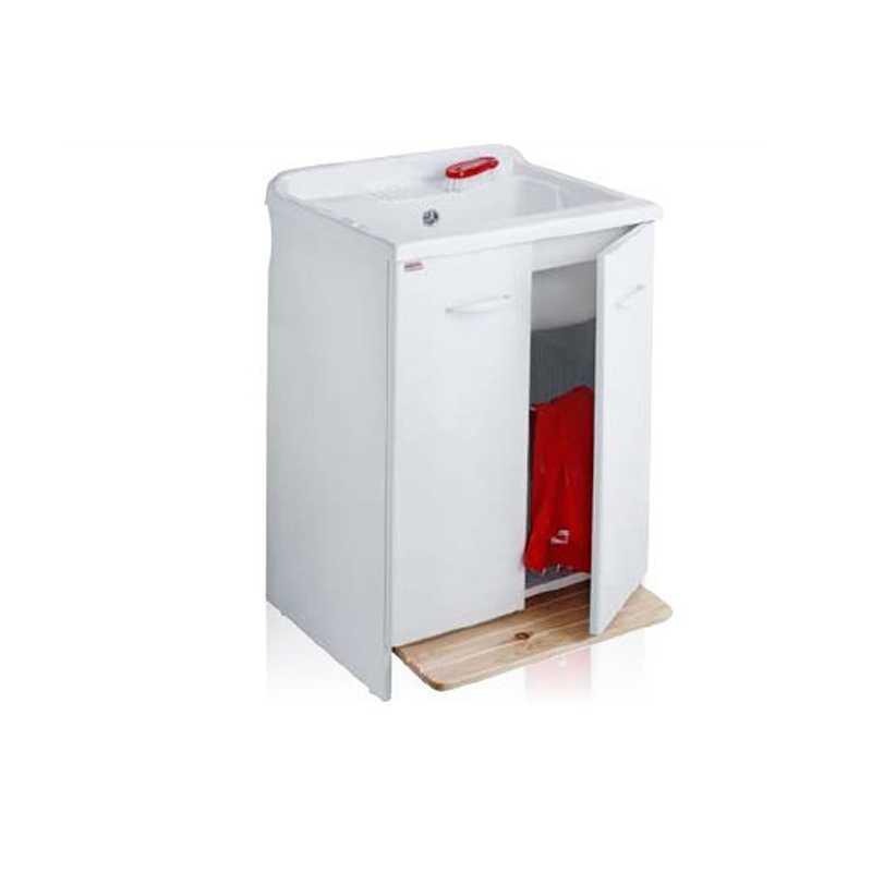 Lavatoio con mobile idrofugo e vasca in resina 60x60 bianco con cesto estraibile