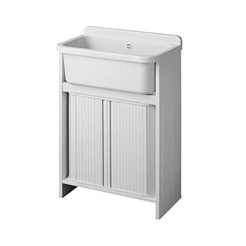Mini lavatoio Salvaspazio con vasca in resina e struttura in pvc 55x35