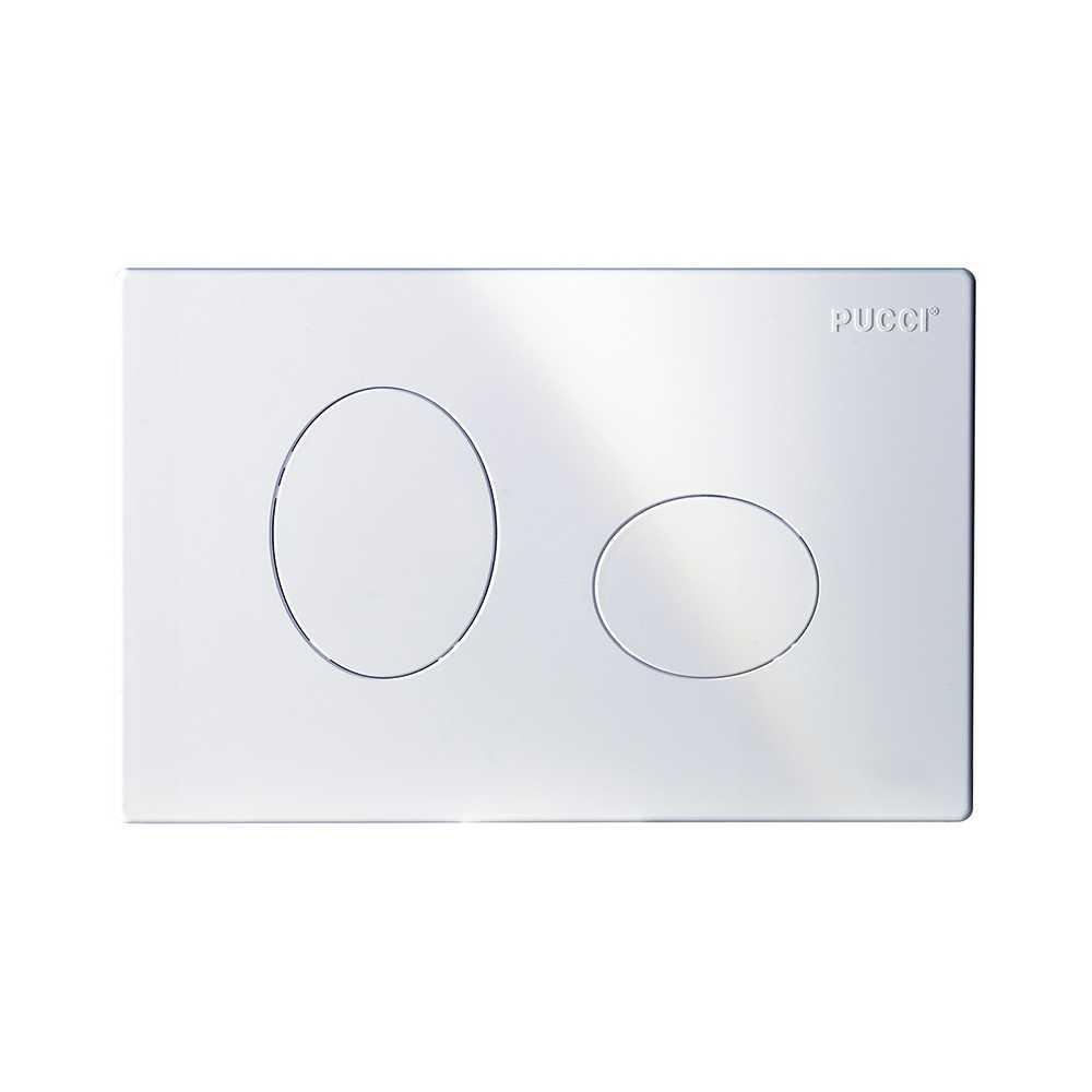 Placca per cassetta incasso pucci eco 2 pulsanti modello Ellisse bianca