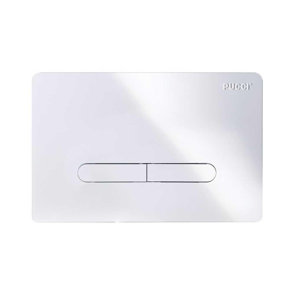 Placca per cassetta incasso pucci eco 2 pulsanti modello Tratto Bianco Lucido
