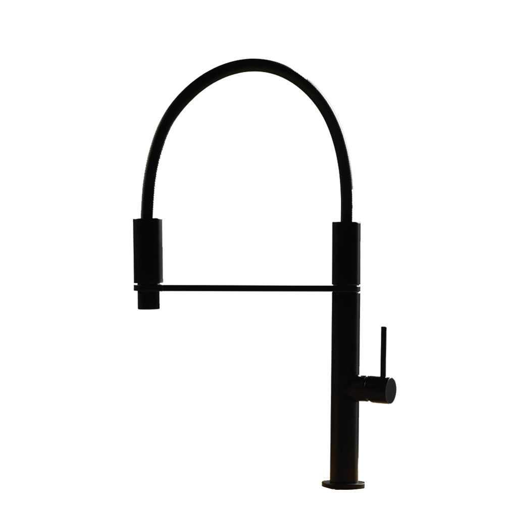 Miscelatore Lavello cucina con doccetta monogetto e aggancio magnetico finitura nero satinato  FIMA FRATTINI