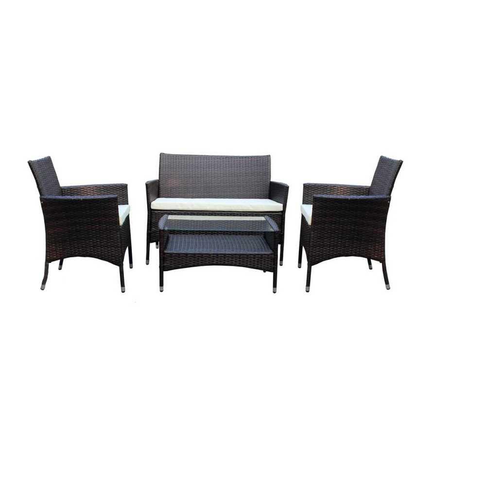 Salotto da giardino in polyrattan modello Minorca Marrone con cuscini ecrù e tavolino