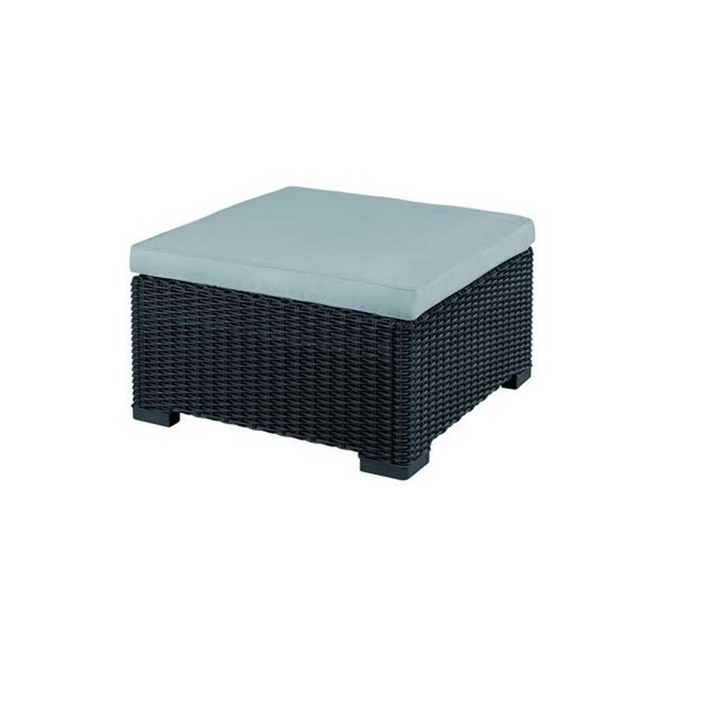 Tavolino da giardino in resina effetto polyrattan colore grafite con cuscino spessore 7,5