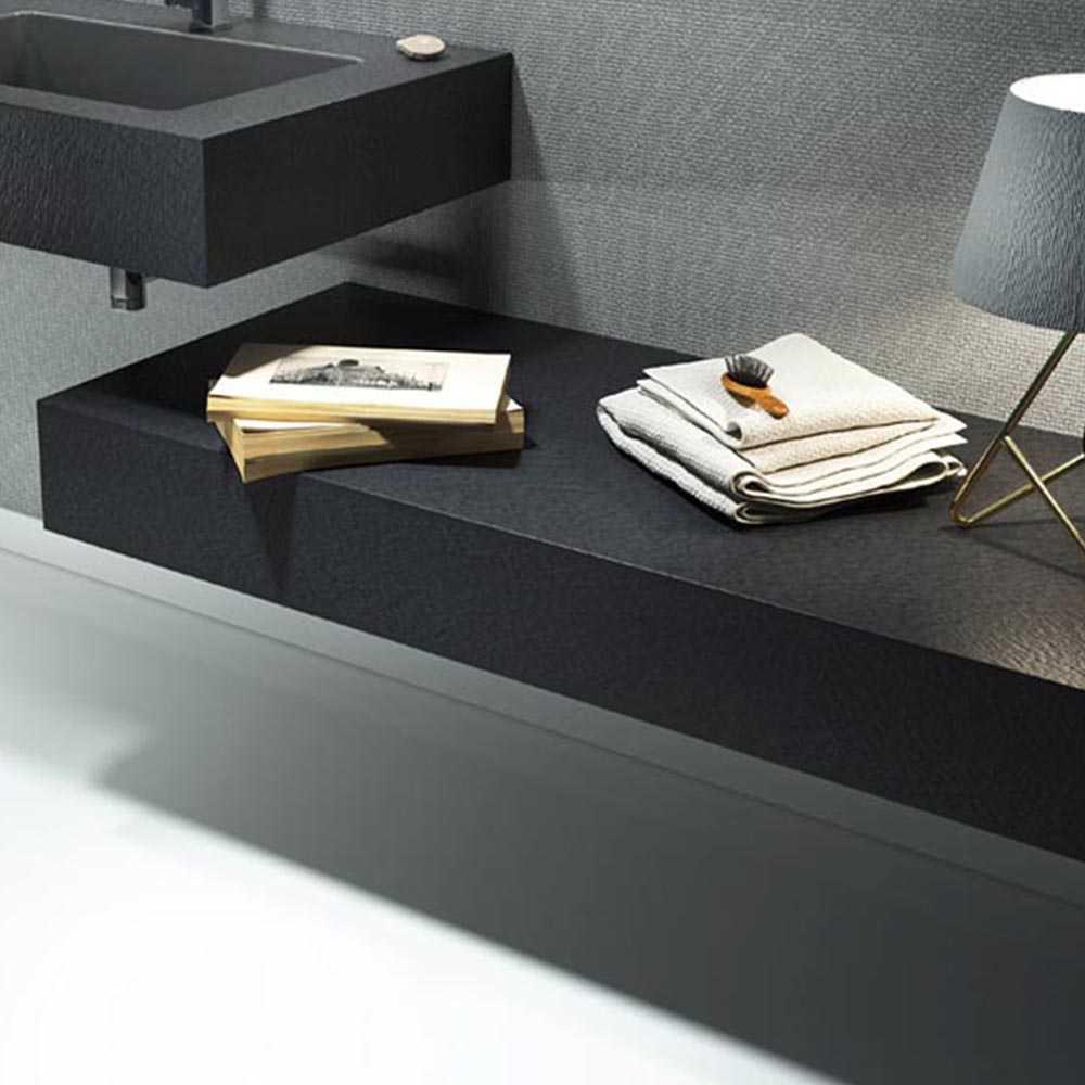 Mensola per lavabo da appoggio effetto Ardesia 70X50 cm realizzata in marmo resina Relax Design BIG