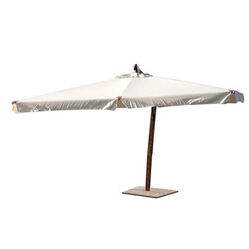 Ombrellone decentrato modello Aster 300x300 cm con struttura in legno e top ecrù
