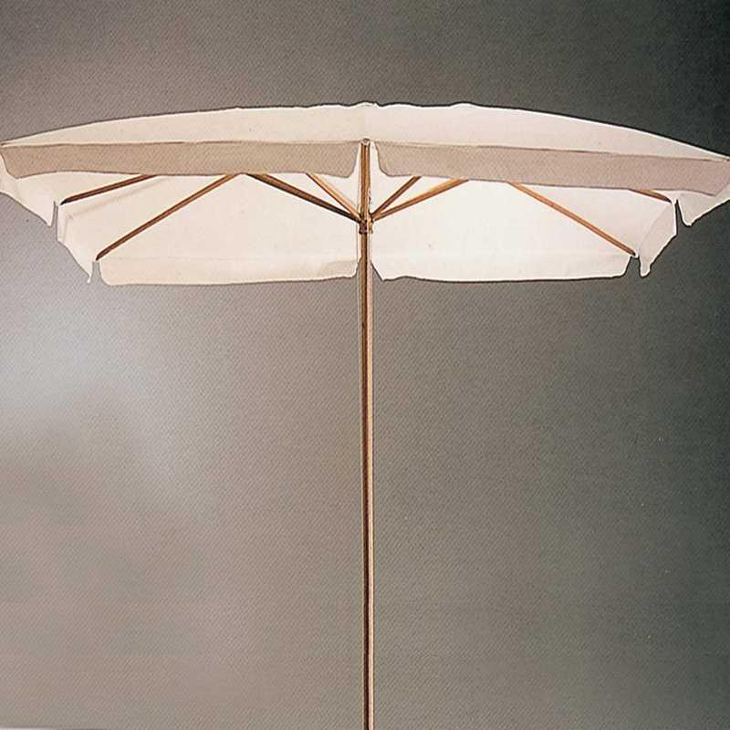 Ombrellone 300x300 cm top in poliestere ecrù e resistente struttura in legno