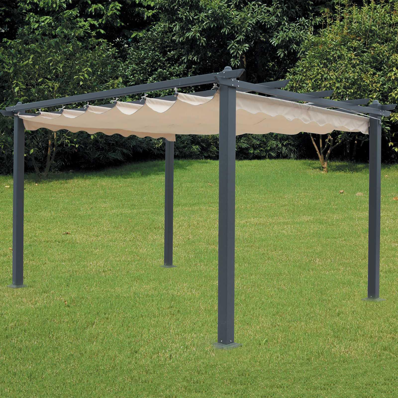 Pergola outdoor 300x400x230h struttura in alluminio e top poliestere ecrù