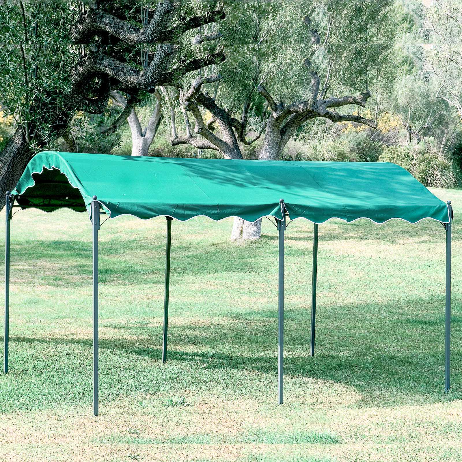 Gazebo Car Port 300x400x250h in acciaio verniciato e top in poliestere verde