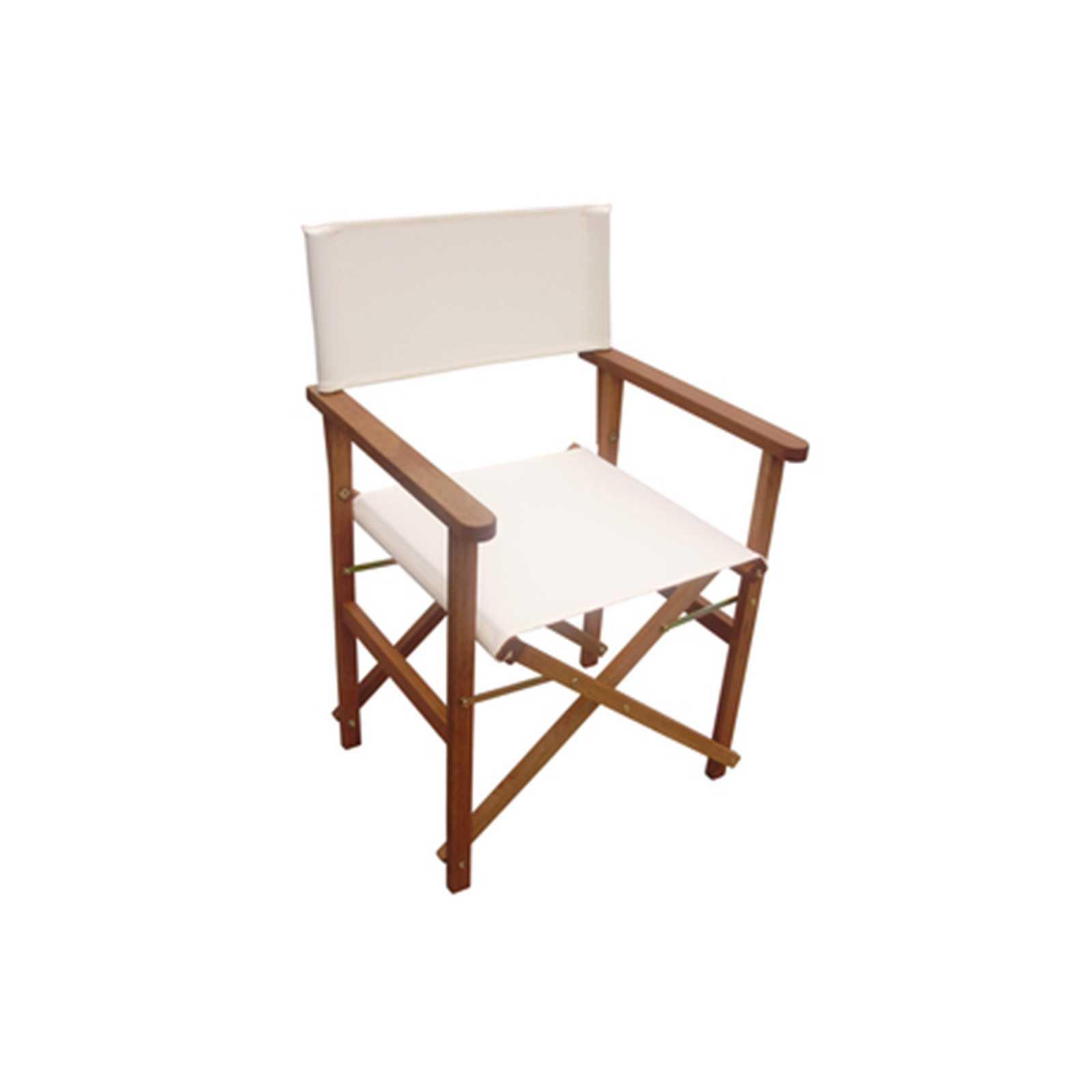Sedia regista pieghevole con struttura in legno 49x53x84 cm e tessuto ecrù