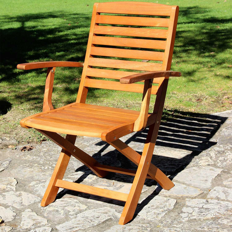 Poltrona pieghevole in legno 54x54x90h con finitura ad olio e cuscino abbinabile